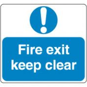Mandatory Safety Sign - Fire Exit Keep 058